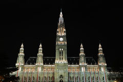 Rathaus Tower Night Stock Images