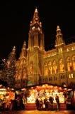 Rathaus town hall with Christmas market, Vienna, Austria Stock Image