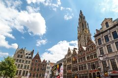 Rathaus und alte Stadt in Antwerpen Stockfotos