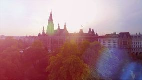 Rathaus of Vienna aerial shot beautiful City Council building in Austria capital. Stock footage stock video footage
