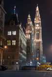 Rathaus of Vienna, facade with night illumination Royalty Free Stock Image