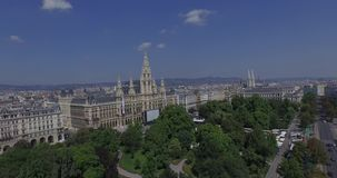 Rathaus Vienna - Town Hall & Rathauspark. Aerial View. The present Vienna City Hall (Rathaus) in Auastria. Unusual view from the air stock footage