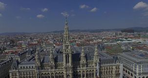 Rathaus Vienna - Town Hall & Rathauspark. Aerial View stock video footage