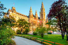 Rathaus in Vienna. View on Rathaus city hall in Vienna on the sunrise stock photos