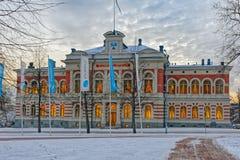 Rathaus von Jyvaskyla am Wintermorgen Lizenzfreies Stockfoto