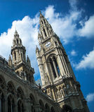Rathaus in wien and dramatic sky in the background Royalty Free Stock Photos