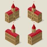 Rathausgebäude in der isometrischen Ansicht über alle vier Seiten Lizenzfreies Stockfoto