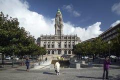 Rathausmarkstein in zentralem Porto Portugal Lizenzfreie Stockbilder