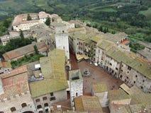 Rathausplatz San-Gimignano übersehen Lizenzfreie Stockbilder