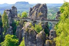 RATHEN, GERMANY - MAY 2017: Bastei bridge in Saxon Switzerland i. N spring, Germany stock images