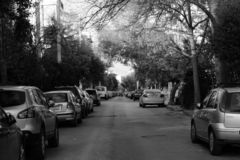 A rather beautiful street at the heart of athens royalty free stock image