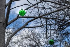 3 rather sad looking Christmas tree ornaments, hanging from the branches of a leafless tree in Midtown Manhattan stock photo
