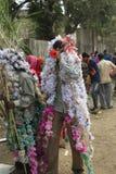 KAVANT GER FAIR near Chhota Udepur  around 120 kms from BARODA. Rathva Tribal community men and women makeup & dressed in their distinctive finery gradually Royalty Free Stock Image