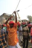 KAVANT GER FAIR near Chhota Udepur  around 120 kms from BARODA. Rathva Tribal community men and women makeup & dressed in their distinctive finery gradually Royalty Free Stock Photos