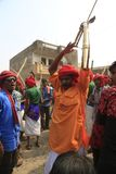 KAVANT GER FAIR near Chhota Udepur  around 120 kms from BARODA. Rathva Tribal community men and women makeup & dressed in their distinctive finery gradually Royalty Free Stock Photo