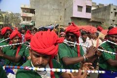 KAVANT GER FAIR near Chhota Udepur  around 120 kms from BARODA. Rathva Tribal community men and women makeup & dressed in their distinctive finery gradually Stock Image