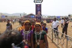 KAVANT GER FAIR near Chhota Udepur  around 120 kms from BARODA. Rathva Tribal community men and women makeup & dressed in their distinctive finery gradually Royalty Free Stock Photography
