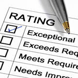 Rating. Exceptional rating marked with pen. Could be performance appraisal, customer service rating, business performance evaluation royalty free stock photos