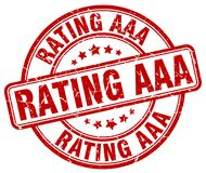 Rating aaa red stamp. Rating aaa red grunge round stamp isolated on white background stock illustration