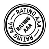 Rating aaa rubber stamp. Black. Sign, label sticker stock illustration