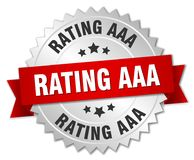 Rating aaa. Silver badge with red ribbon stock illustration