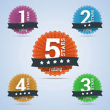 Rating badges from one to five stars Royalty Free Stock Images