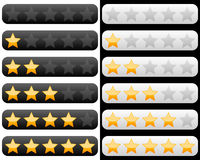 Rating Bar with Golden Stars Stock Photos