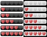 Rating Bar with Red Hearts. Rating bar with five red hearts in two different colors (black and white). Eps file available stock illustration