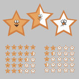 Rating with Cartoon Stars. Happy, Neutral and Sad Star. Stock Photography