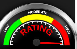 Rating. Concept image for illustration of rating in the highest meter , 3d rendering Stock Image