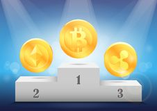 Rating of the crypto currency. Awarding virtual coins: bitcoin, ethereum, ripple. Rating of the crypto currency. Awarding the first three virtual coins: bitcoin Royalty Free Stock Images