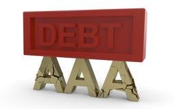 Rating de crédito que desmorona sob o débito Imagens de Stock