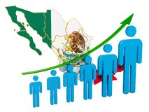 Rating of employment and unemployment or mortality and fertility in Mexico, concept. 3D rendering. Isolated on white background vector illustration