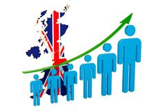 Rating of employment and unemployment or mortality and fertility in the United Kingdom, concept. 3D rendering. Isolated on white background vector illustration