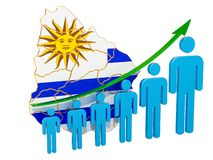 Rating of employment and unemployment or mortality and fertility in Uruguay, concept. 3D rendering. Isolated on white background vector illustration
