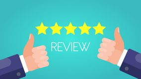 Rating Five Stars. Thumbs Up with review sign. Green Background. stock illustration