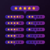Rating gold stars set button on purple background vector illustration