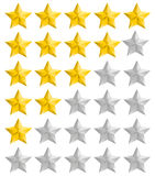 Rating golden stars set. Isolated rating full and half stars Royalty Free Stock Images