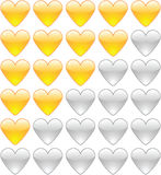 Rating hearts. On white Royalty Free Stock Photography
