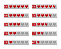 Rating hearts buttons. Isolated on white background Stock Photo