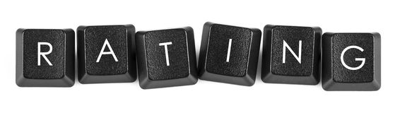 Rating-Keyboard buttons. Words created with computer keyboard buttons on white background stock photography