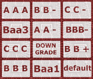 RATING MATRIX. Illustration of credit rating matrix displaying the symbols of credit worthiness of an issuer of specific types of debt Stock Photo