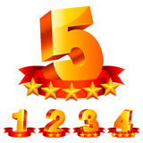 Rating numbers. Golden numbers with red ribbons and rating stars Stock Image