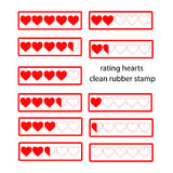 Rating red hearts isolated on white. Vector illustration Royalty Free Stock Images