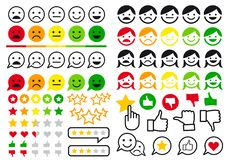 Rating, review, user emoji, flat icons, vector set Royalty Free Illustration