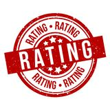 Rating round red grunge stamp badge stock illustration