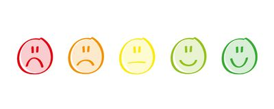 Rating satisfaction feedback in form of emotions excellent good normal bad awful stock illustration