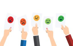 Customer Service Satisfaction Survey Form. Quality control. Rating satisfaction. Feedback in form of emotions. Excellent, good, normal, bad awful Vector Stock Photo