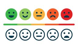Rating satisfaction. Feedback in form of emotions. Excellent, good, normal, bad awful Vector illustration Stock Images