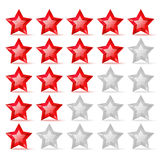 Rating scale with crystal stars Royalty Free Stock Images